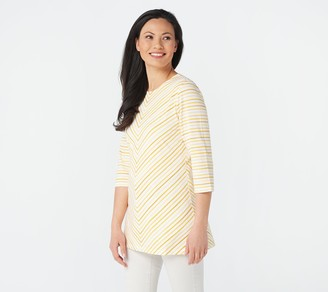 Denim & Co. Regular 3/4 Sleeve Striped Round Neck Tunic