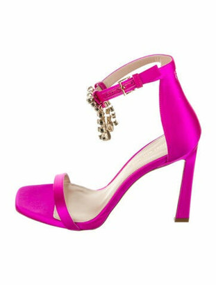 Stuart Weitzman Fringe Square Nudist Satin Sandals w/ Tags Fuchsia