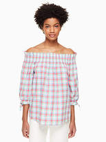 Kate Spade Madras off shoulder top