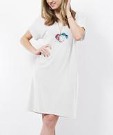 Lydiane Women's Tee Shirt Dresses IVORY - Ivory V-Neck Roll-Cuff Pocket T-Shirt Dress - Women