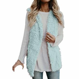 HOOUDO Womens Gilets Jacket Coat Vest Sleeveless Casual Winter Warm Outwear Faux Fur Solid Pocket Cardigan Overcoat Outwear Waistcoat (Medium