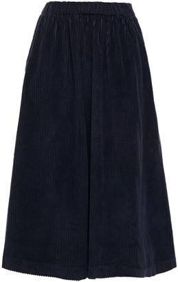 American Vintage Gathered Ribbed Cotton-blend Velvet Skirt
