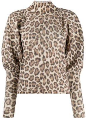 Zimmermann Roll Neck Leopard Print Jumper