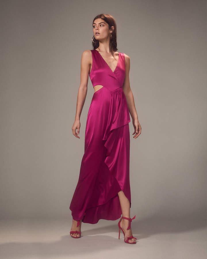A.L.C. Cantor Cascading Side Ruffle Magenta Dress
