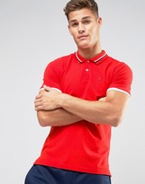 Tommy Hilfiger Stretch Pique Polo Slim Fit Icon Stripe Collar in Red