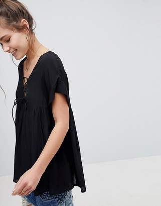 Asos Design Smock Tunic with Lace Up Detail-Black