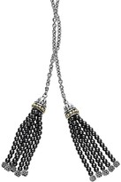 Lagos 18K Gold and Sterling Silver Lariat Necklace with Hematite Tassels, 42""