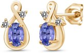 Gem Stone King 0.98 Ct Oval Blue Tanzanite and White Diamond 14k Yellow Gold Earrings