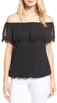 MICHAEL Michael Kors Petite Women's Lace Trim Off The Shoulder Top