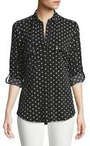 Jones New York Heart Print Button-Down Blouse