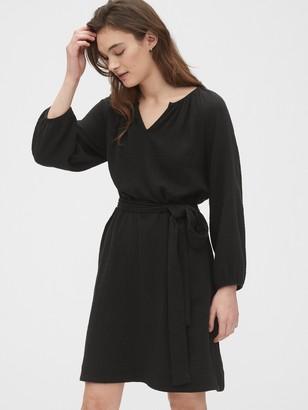 Gap Split Neck Gauze Dress
