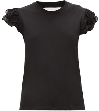 See by Chloe Ruffled-sleeve Cotton-jersey T-shirt - Black