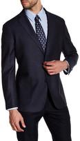 Zanetti Blue Donnegal Two Button Notch Lapel Wool Modern Fit Sport Coat