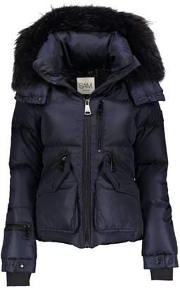 SAM. Fox Fur-Trim Hooded Puffer Jacket