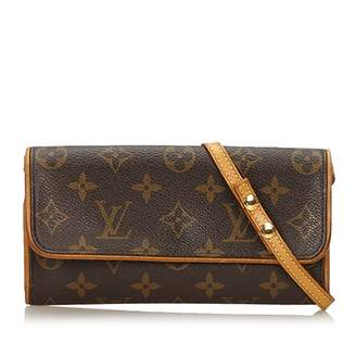 Louis Vuitton Twin Brown Cloth Handbags
