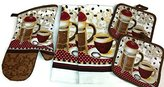 Home Collection Coffee Theme Kitchen Linen Set (2041) (Includes: one oven mitts, two dish towels, and two pot holders)
