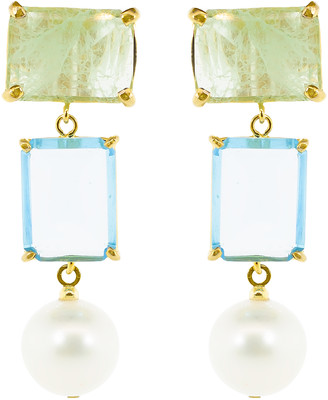 Bounkit Jewelry Fluorite and Quartz Earrings