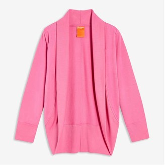 Joe Fresh Kid Girls' French Terry Cardi, Dark Pink (Size L)
