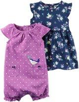 Carter's 2 Piece Floral Dress and Romper Set - Purple - 3-6 Months