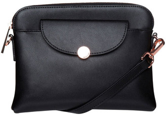 Mocha Brianna Leather Crossbody Bag - Black