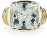Lagos Embrace Large Cushion-Cut White Topaz & Diamond Ring, Size 7