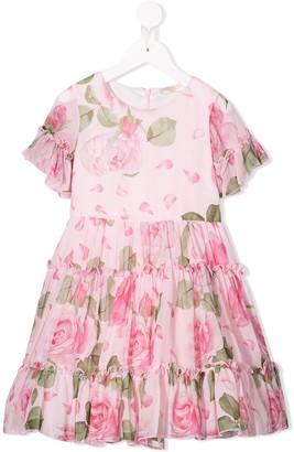 MonnaLisa Rose Print Ruffled Dress