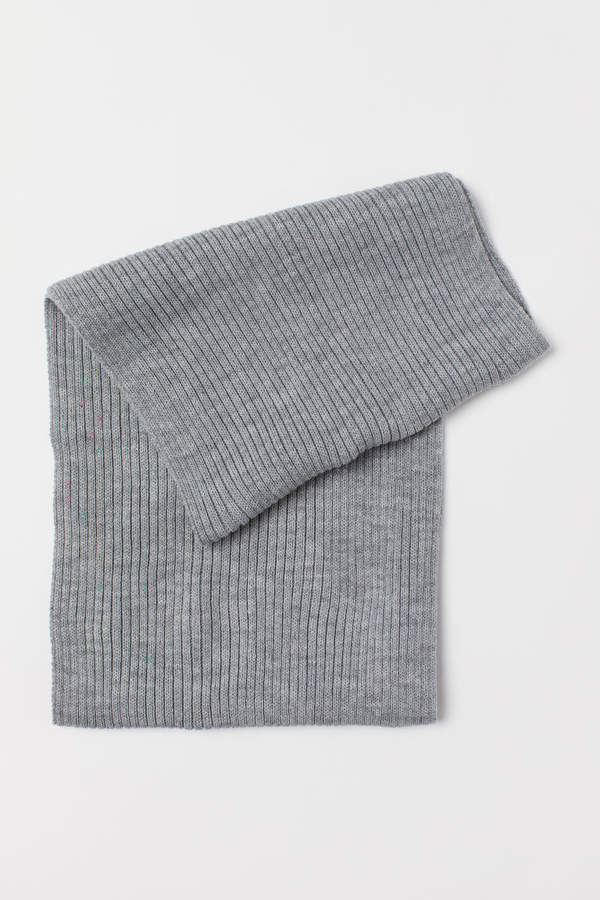 H&M Rib-knit Tube Scarf - Gray