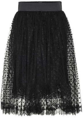 Dolce & Gabbana Dotted lace-trimmed tulle skirt