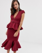 Asos Design DESIGN belted peplum detail midi dress with pep hem