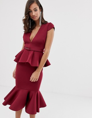 ASOS DESIGN belted peplum detail midi dress with pep hem