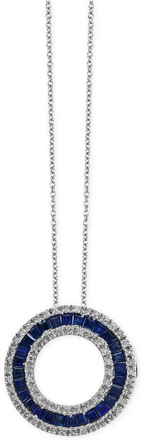Effy Royale Bleu by Sapphire (1-5/8 ct. t.w.) and Diamond (1/3 ct. t.w.) Circle Pendant Necklace in 14k White Gold, Created for Macy's