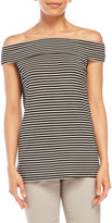 Cable & Gauge Striped Sleeveless Off-The-Shoulder Top