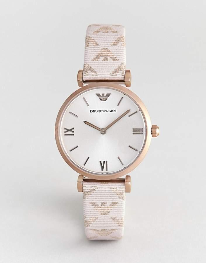 Emporio Armani AR11126 Gianni T-Bar Leather Watch with Logo Strap