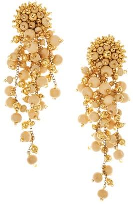 Oscar de la Renta Glass & Wood Beaded Cascade Drop Clip-On Earrings