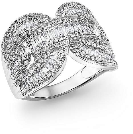 Bloomingdale's Diamond Round and Baguette Statement Ring in 14K White Gold, 1.10 ct. t.w.