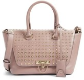 Valentino Garavani Small Demilune Studded Calfskin Leather Satchel - Pink