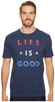 Life is Good Red White Good Crusher Tee Men's Short Sleeve Pullover