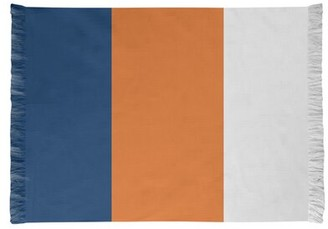 Houston Striped Navy/Orange/White Area Rug East Urban Home Non-Skid Pad Included: No
