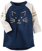 Osh Kosh Toddler Girl Kitty Cat Raglan Glitter Graphic Tunic Top