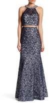 Sequin Hearts Lace Top and Matching Skirt Set