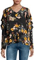 Buffalo David Bitton Long Sleeve Floral Ruffle Top