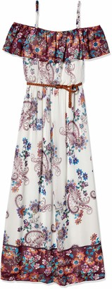 Amy Byer A. Byer Women's Off The Shoulder Printed Maxi Dress with Belt