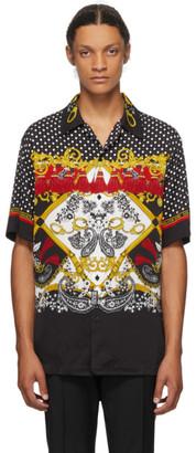 Versace Black and Red Paisley Fantasy Short Sleeve Shirt
