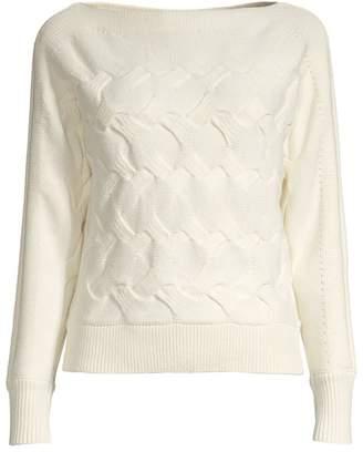 Donna Karan Horizontal Cable-Knit Sweater