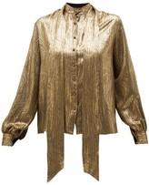 Saint Laurent Pussy-bow Silk-blend Brocade Blouse - Womens - Gold