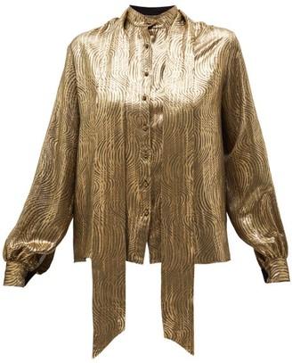 Saint Laurent Pussy-bow Silk-blend Brocade Blouse - Gold
