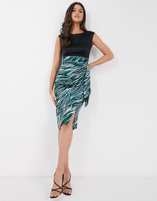 Closet London Closet draped pencil dress in green multi