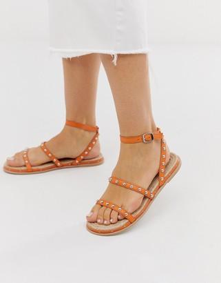 Asos Design DESIGN Juliette premium leather studded espadrilles in orange