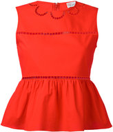 RED Valentino open embroidery peplum top - women - Cotton/Polyester - 38