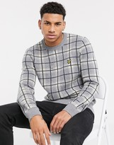 Lyle & Scott check knitted jumper in grey